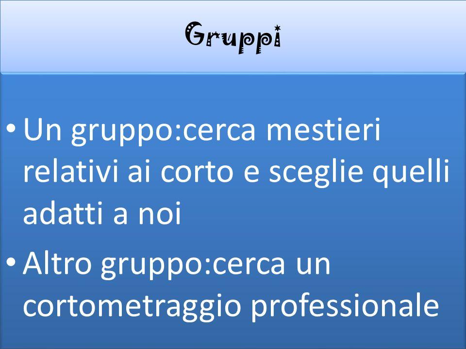 Gruppi Un gruppo:cerca mestieri relativi ai corto e sceglie quelli adatti a noi Altro gruppo:cerca un cortometraggio professionale Un gruppo:cerca mes