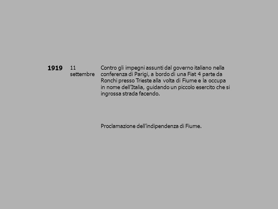 1919 11 settembre Contro gli impegni assunti dal governo italiano nella conferenza di Parigi, a bordo di una Fiat 4 parte da Ronchi presso Trieste all