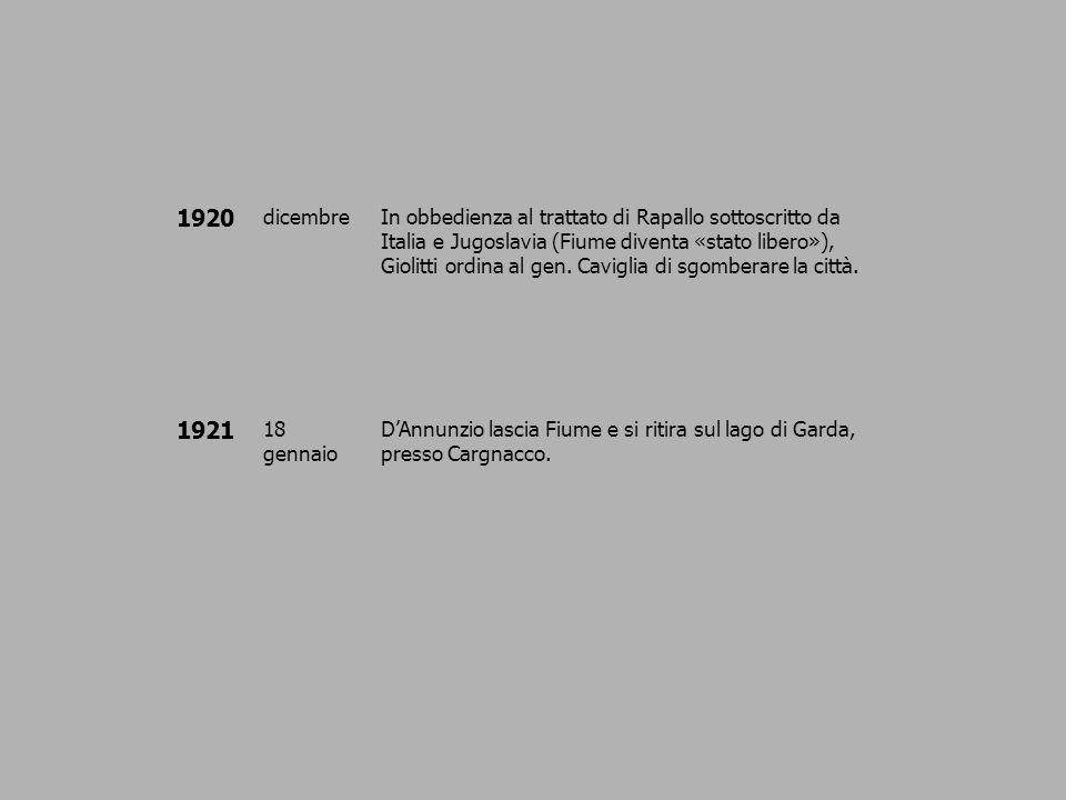 1920 dicembreIn obbedienza al trattato di Rapallo sottoscritto da Italia e Jugoslavia (Fiume diventa «stato libero»), Giolitti ordina al gen. Caviglia