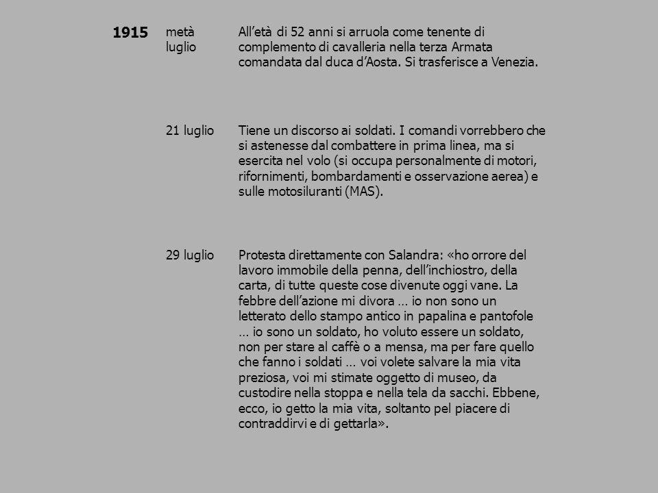 1915 7 agostoVolo su Trieste e lancio di messaggi alla popolazione.