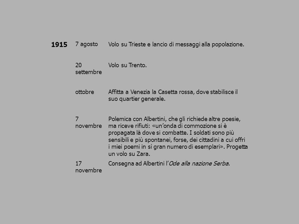 1915 7 agostoVolo su Trieste e lancio di messaggi alla popolazione. 20 settembre Volo su Trento. ottobreAffitta a Venezia la Casetta rossa, dove stabi