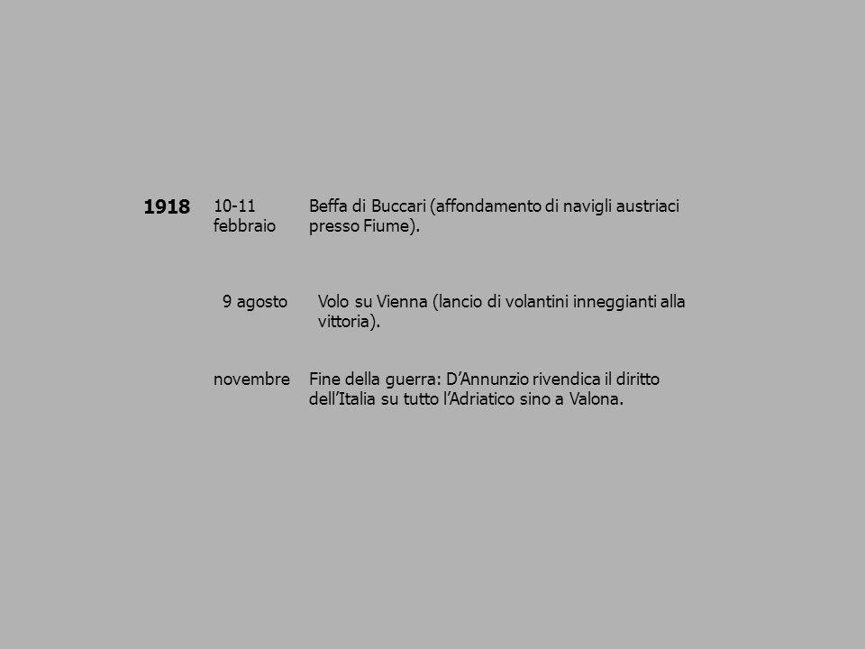 1918 10-11 febbraio Beffa di Buccari (affondamento di navigli austriaci presso Fiume). 9 agostoVolo su Vienna (lancio di volantini inneggianti alla vi