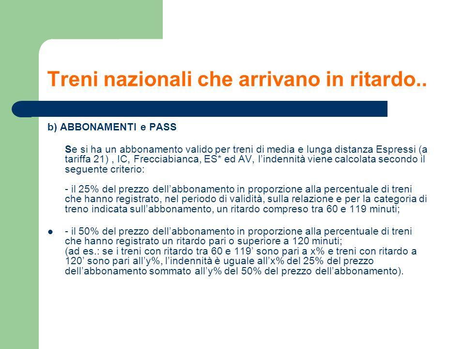 Treni nazionali che arrivano in ritardo.. b) ABBONAMENTI e PASS Se si ha un abbonamento valido per treni di media e lunga distanza Espressi (a tariffa