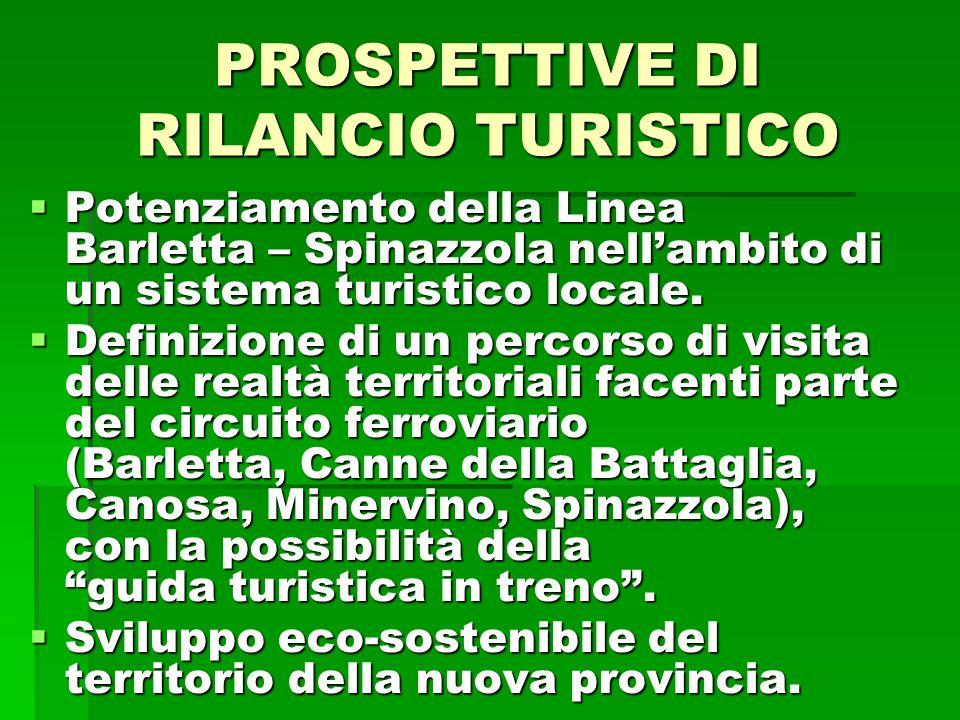 PROSPETTIVE DI RILANCIO TURISTICO Potenziamento della Linea Barletta – Spinazzola nellambito di un sistema turistico locale.