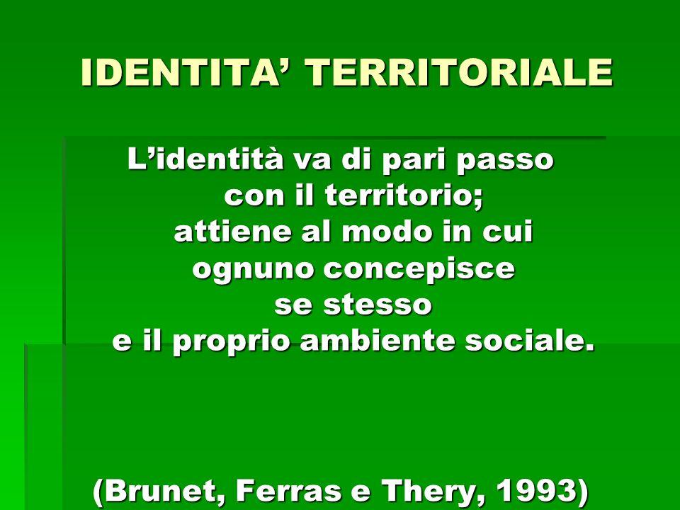 IDENTITA TERRITORIALE Lidentità va di pari passo con il territorio; attiene al modo in cui ognuno concepisce se stesso e il proprio ambiente sociale.