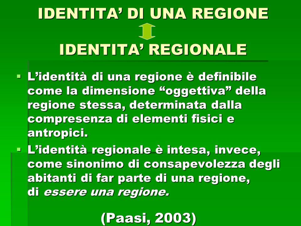 IDENTITA DI UNA REGIONE IDENTITA REGIONALE Lidentità di una regione è definibile come la dimensione oggettiva della regione stessa, determinata dalla compresenza di elementi fisici e antropici.