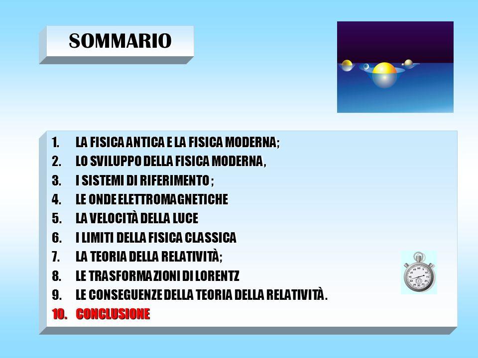 SOMMARIO 1.LA FISICA ANTICA E LA FISICA MODERNA; 2.LO SVILUPPO DELLA FISICA MODERNA, 3.I SISTEMI DI RIFERIMENTO ; 4.LE ONDE ELETTROMAGNETICHE 5.LA VEL