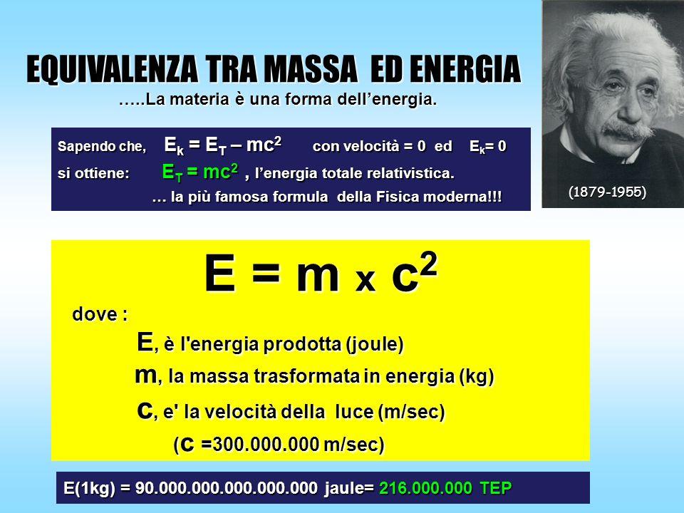 E = m x c 2 dove : E, è l'energia prodotta (joule) m, la massa trasformata in energia (kg) c, e' la velocità della luce (m/sec) ( c =300.000.000 m/sec