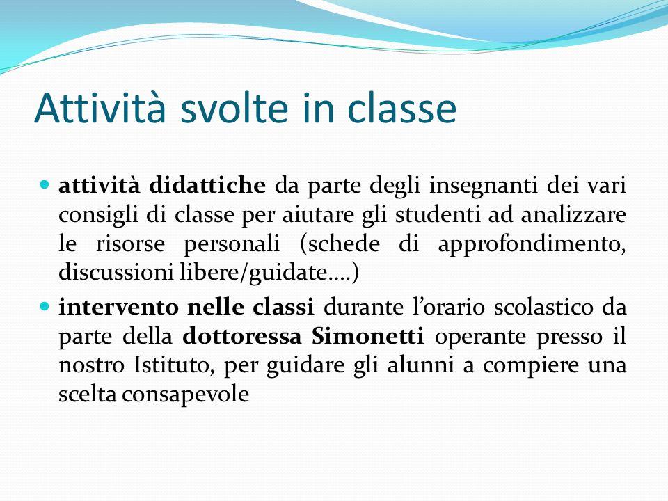 Attività svolte in classe attività didattiche da parte degli insegnanti dei vari consigli di classe per aiutare gli studenti ad analizzare le risorse