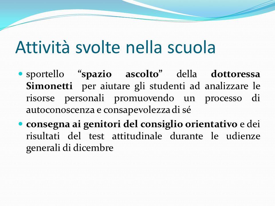 Attività svolte nella scuola sportello spazio ascolto della dottoressa Simonetti per aiutare gli studenti ad analizzare le risorse personali promuoven