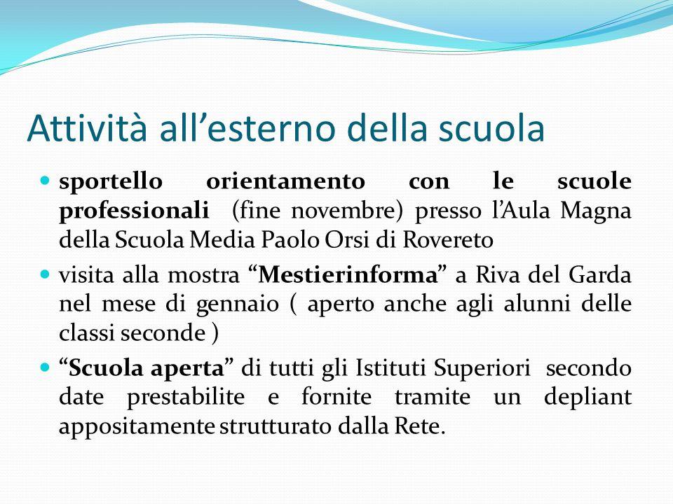 Attività allesterno della scuola sportello orientamento con le scuole professionali (fine novembre) presso lAula Magna della Scuola Media Paolo Orsi d