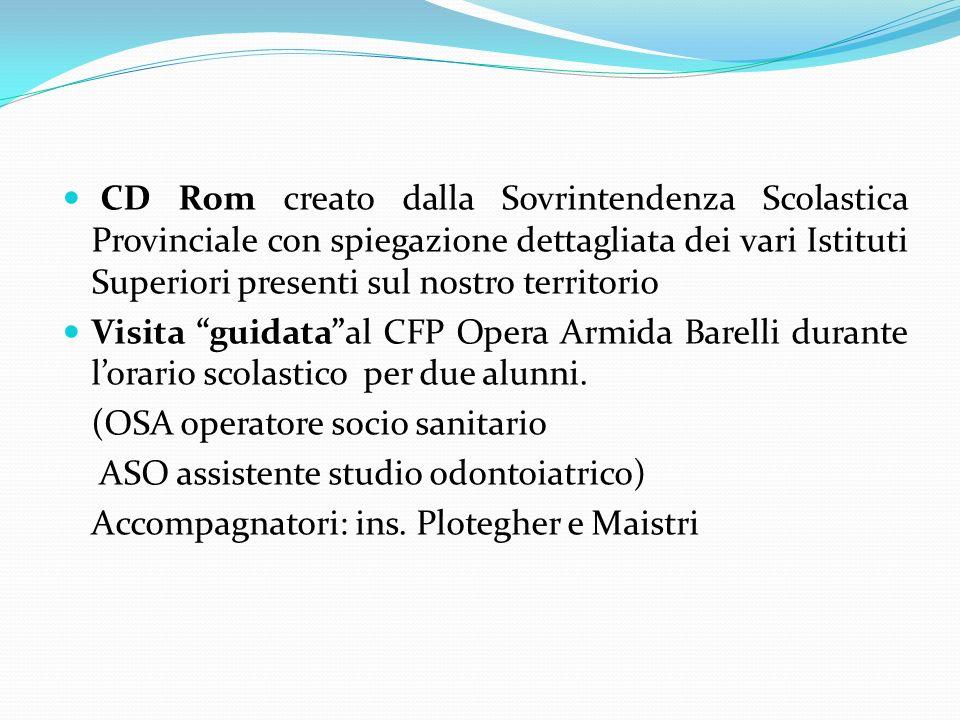 CD Rom creato dalla Sovrintendenza Scolastica Provinciale con spiegazione dettagliata dei vari Istituti Superiori presenti sul nostro territorio Visit