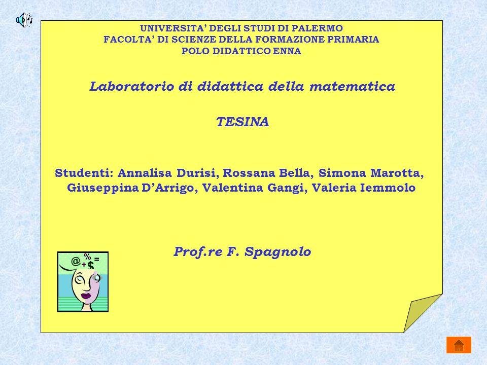 UNIVERSITA DEGLI STUDI DI PALERMO FACOLTA DI SCIENZE DELLA FORMAZIONE PRIMARIA POLO DIDATTICO ENNA Laboratorio di didattica della matematica TESINA St