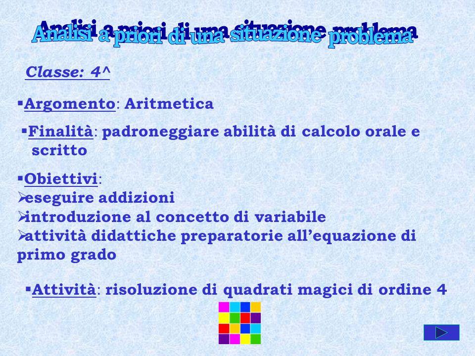 Classe: 4^ Argomento : Aritmetica Finalità : padroneggiare abilità di calcolo orale e scritto Obiettivi : eseguire addizioni introduzione al concetto