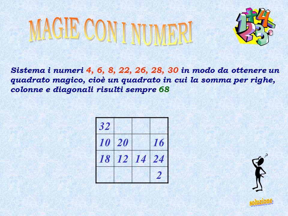 Sistema i numeri 4, 6, 8, 22, 26, 28, 30 in modo da ottenere un quadrato magico, cioè un quadrato in cui la somma per righe, colonne e diagonali risul