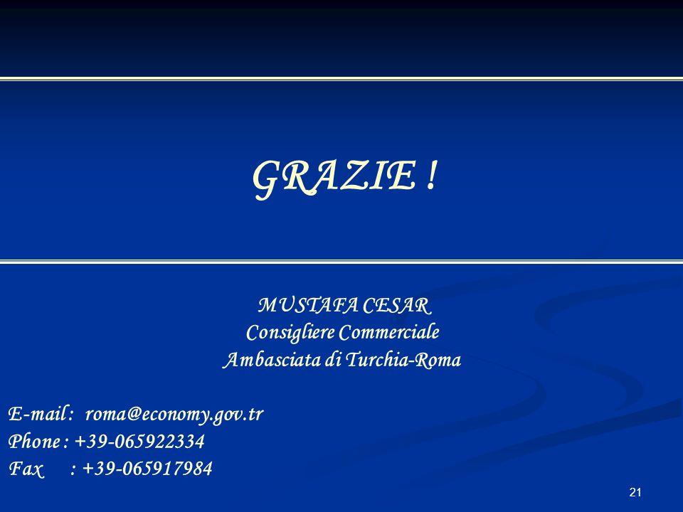 21 GRAZIE ! MUSTAFA CESAR Consigliere Commerciale Ambasciata di Turchia-Roma E-mail : roma@economy.gov.tr Phone : +39-065922334 Fax : +39-065917984