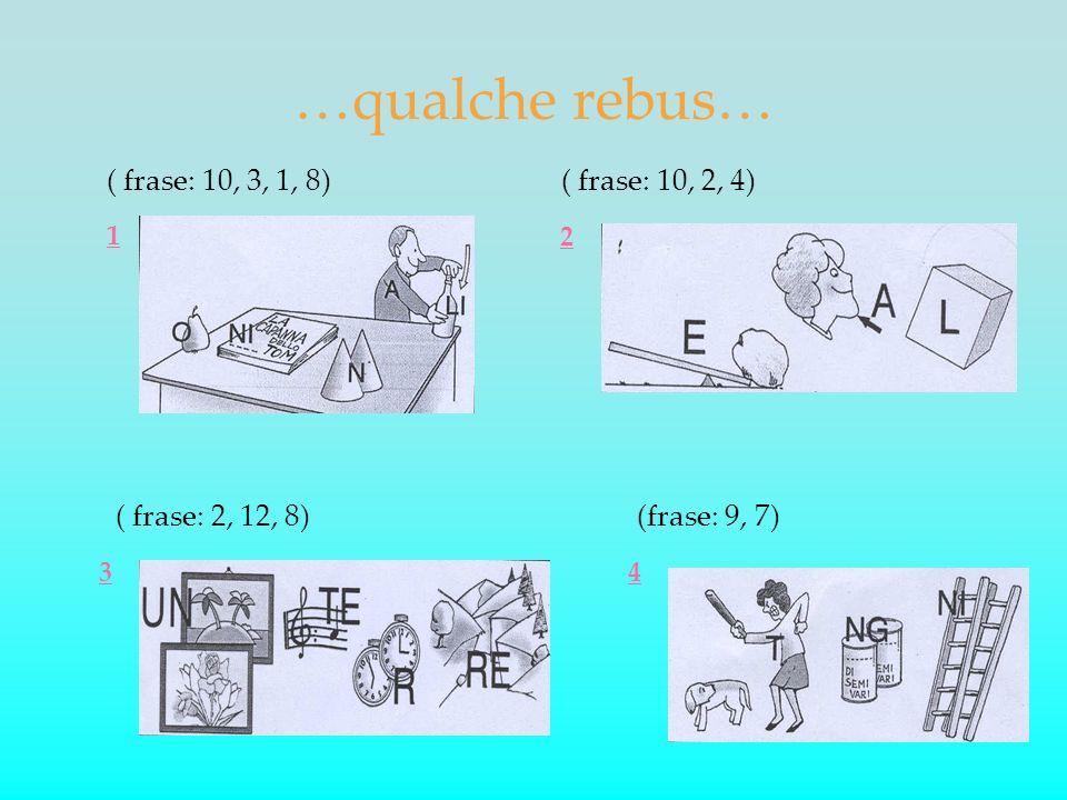 …qualche rebus… ( frase: 10, 3, 1, 8)( frase: 10, 2, 4) ( frase: 2, 12, 8)(frase: 9, 7) 1 2 34