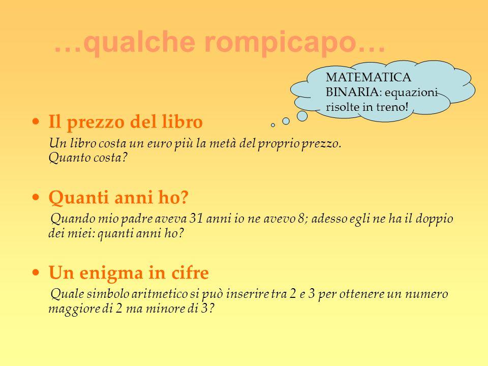 …qualche rompicapo… Il prezzo del libro Un libro costa un euro più la metà del proprio prezzo. Quanto costa? Quanti anni ho? Quando mio padre aveva 31