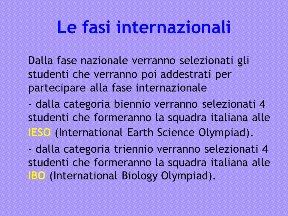 Le fasi internazionali Dalla fase nazionale verranno selezionati gli studenti che verranno poi addestrati per partecipare alla fase internazionale - d