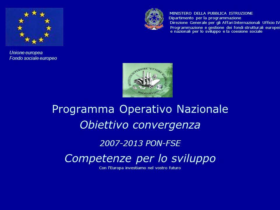 Unione europea Fondo sociale europeo Programma Operativo Nazionale Obiettivo convergenza 2007-2013 PON-FSE Competenze per lo sviluppo Con lEuropa investiamo nel vostro futuro MINISTERO DELLA PUBBLICA ISTRUZIONE Dipartimento per la programmazione Direzione Generale per gli Affari Internazionali Ufficio IV Programmazione e gestione dei fondi strutturali europei e nazionali per lo sviluppo e la coesione sociale
