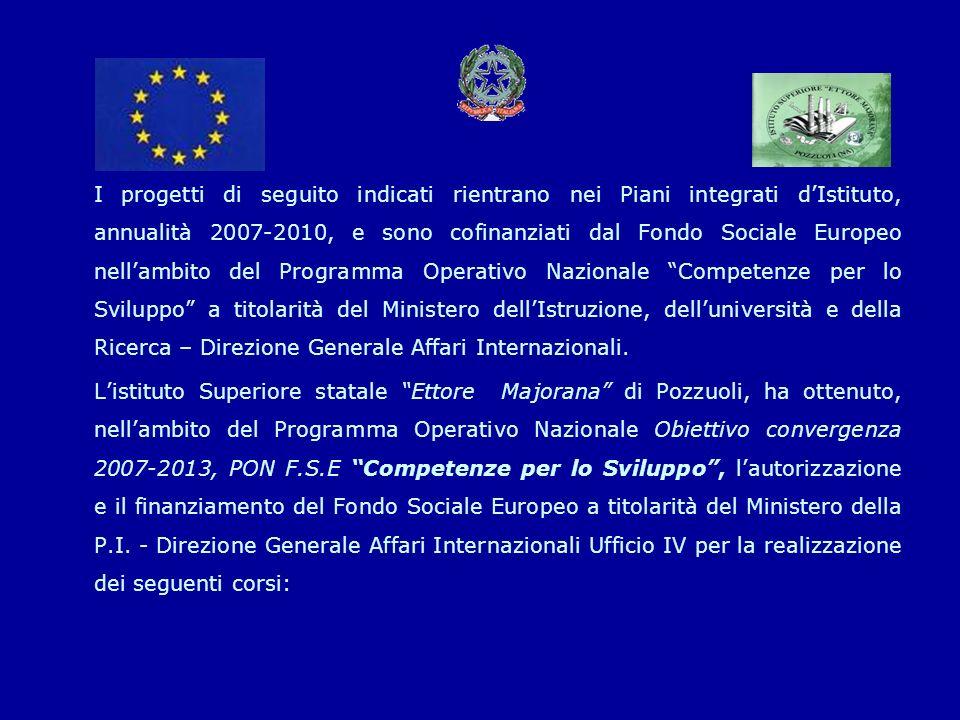 I progetti di seguito indicati rientrano nei Piani integrati dIstituto, annualità 2007-2010, e sono cofinanziati dal Fondo Sociale Europeo nellambito