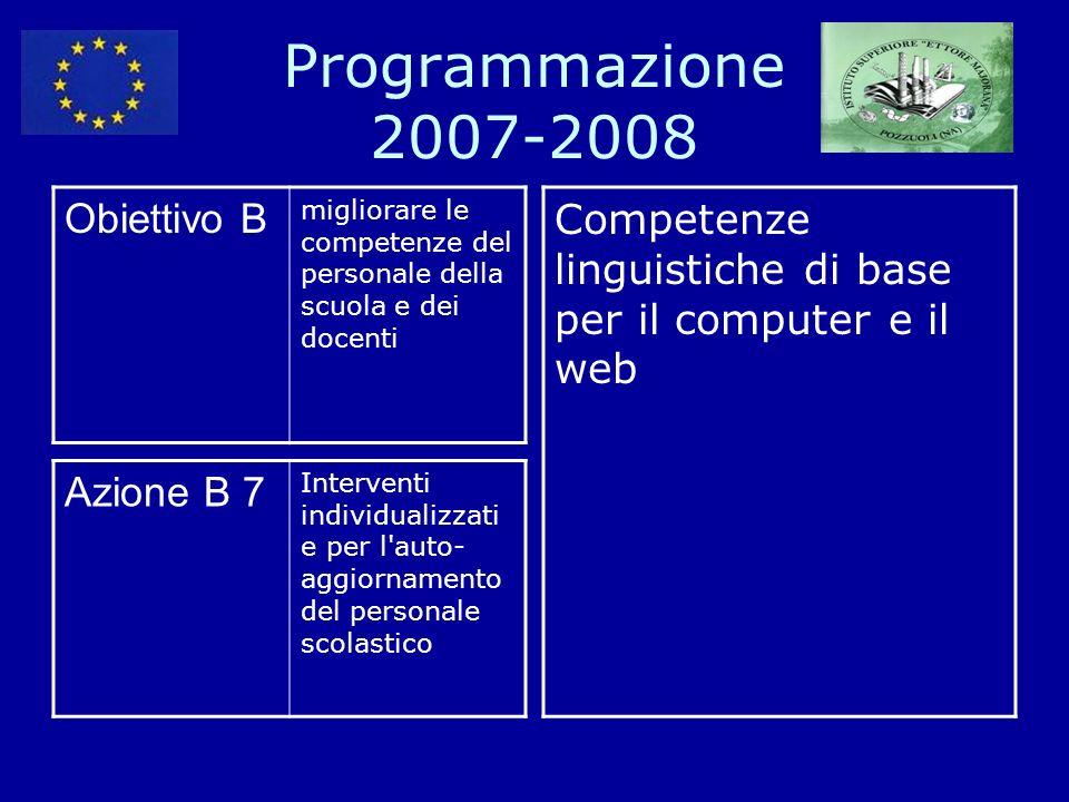 Programmazione 2007-2008 Obiettivo B migliorare le competenze del personale della scuola e dei docenti Competenze linguistiche di base per il computer e il web Azione B 7 Interventi individualizzati e per l auto- aggiornamento del personale scolastico