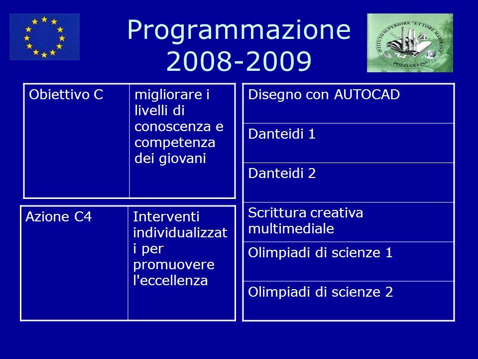 Programmazione 2008-2009 Obiettivo Cmigliorare i livelli di conoscenza e competenza dei giovani Azione C4Interventi individualizzat i per promuovere l