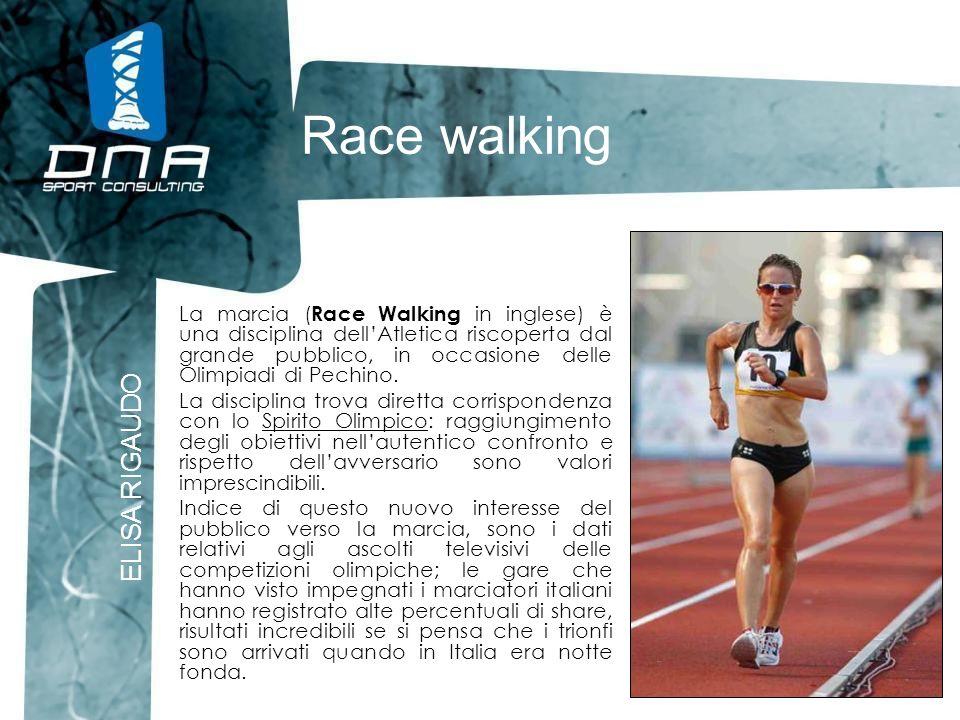 Race walking ELISA RIGAUDO La marcia ( Race Walking in inglese) è una disciplina dellAtletica riscoperta dal grande pubblico, in occasione delle Olimp
