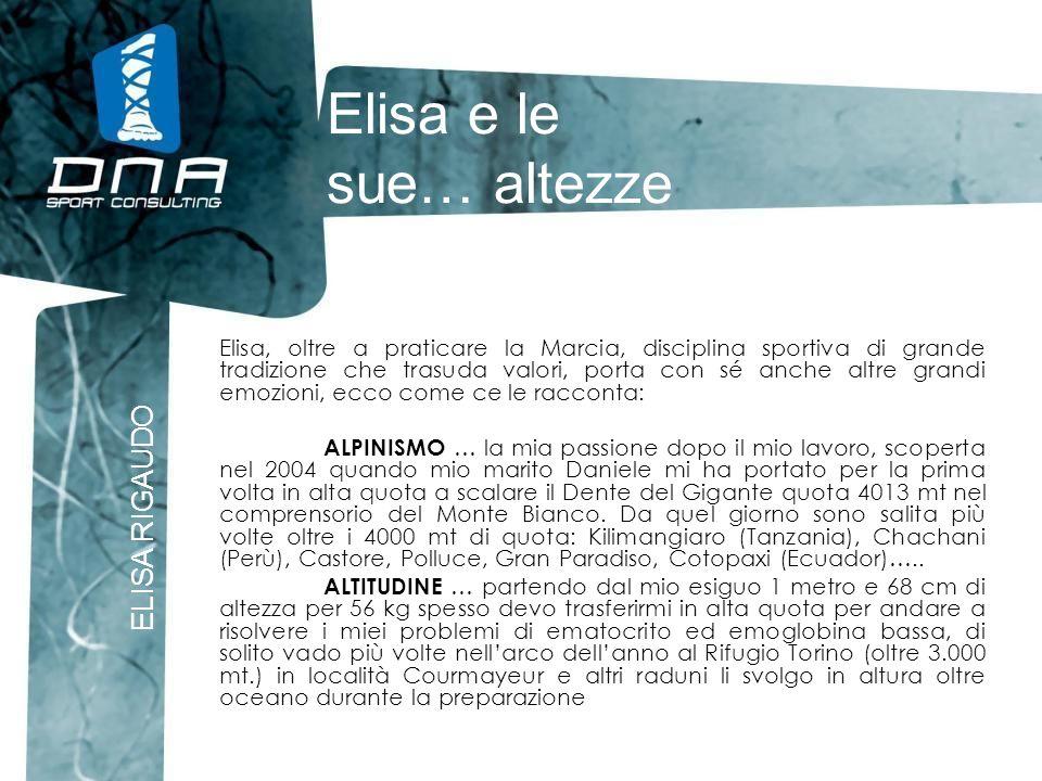 Elisa e le sue… altezze ELISA RIGAUDO Elisa, oltre a praticare la Marcia, disciplina sportiva di grande tradizione che trasuda valori, porta con sé an