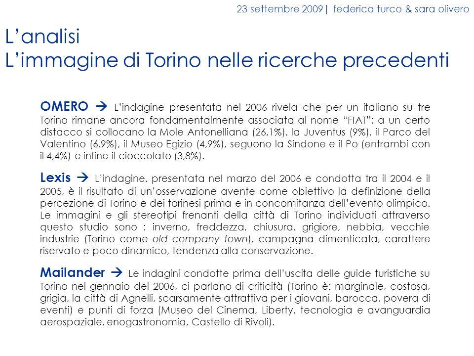 OMERO Lindagine presentata nel 2006 rivela che per un italiano su tre Torino rimane ancora fondamentalmente associata al nome FIAT; a un certo distacc