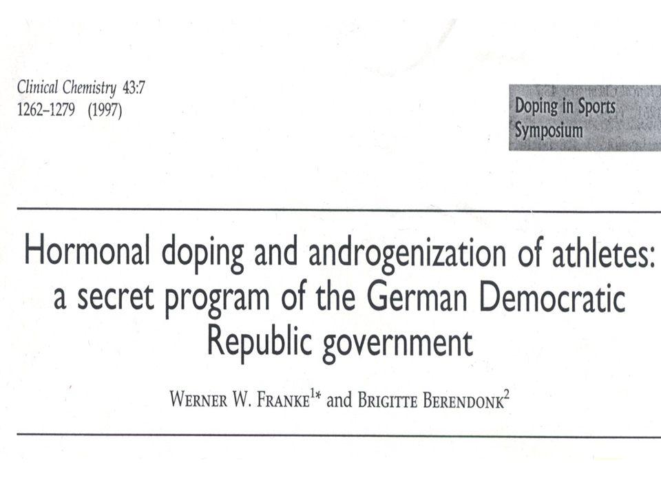 IL CASO DDR Sistematica selezione di talenti naturali che venivano raccolti in speciali scuole Realizzato un uso sistematico di sostanze dopanti Frankle & Berendonk, Clinical Chemistry 1997
