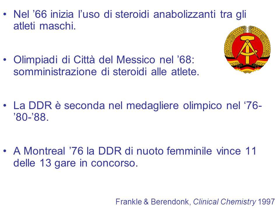Nel 66 inizia luso di steroidi anabolizzanti tra gli atleti maschi. Olimpiadi di Città del Messico nel 68: somministrazione di steroidi alle atlete. L