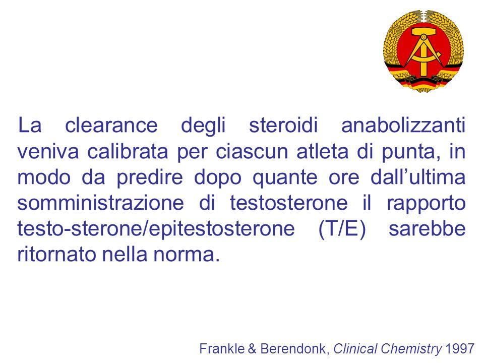 Il sistema della DDR fu unico: Per il diretto controllo governativo Per il sistema di selezione dei talenti Per il trattamento di molti atleti senza il loro consenso IL CASO DDR Frankle & Berendonk, Clinical Chemistry 1997