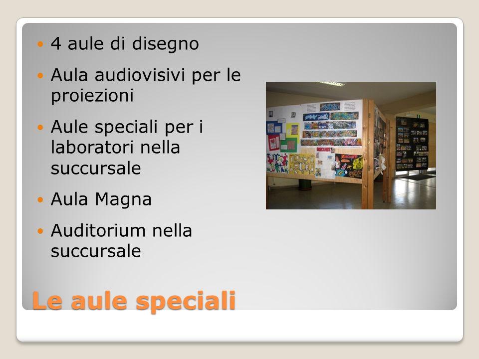 Le aule speciali 4 aule di disegno Aula audiovisivi per le proiezioni Aule speciali per i laboratori nella succursale Aula Magna Auditorium nella succ