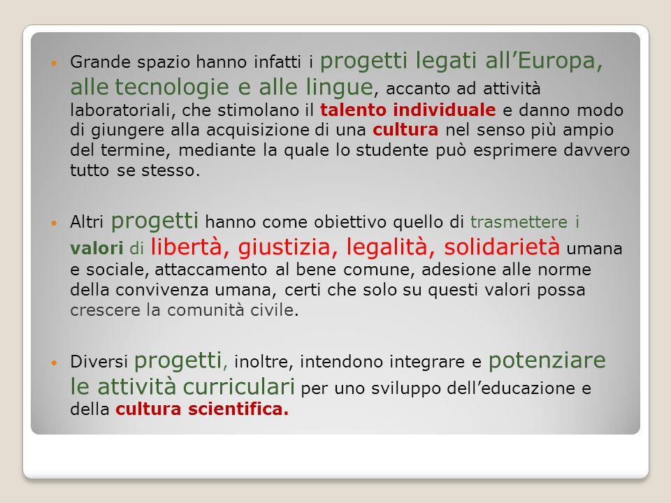 Grande spazio hanno infatti i progetti legati allEuropa, alle tecnologie e alle lingue, accanto ad attività laboratoriali, che stimolano il talento in
