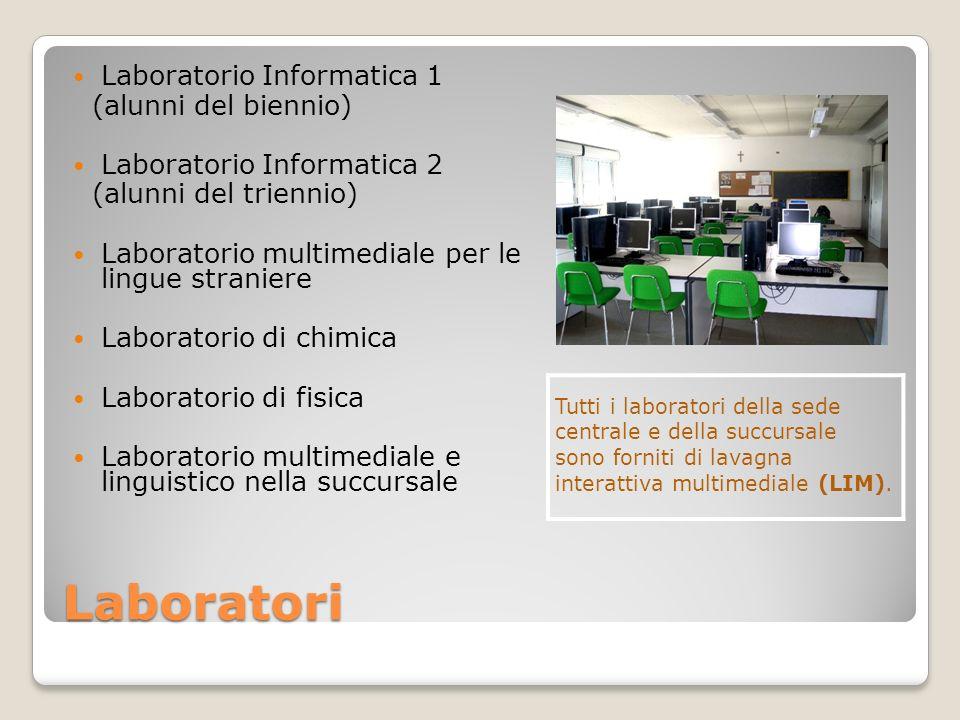 Laboratori Laboratorio Informatica 1 (alunni del biennio) Laboratorio Informatica 2 (alunni del triennio) Laboratorio multimediale per le lingue stran