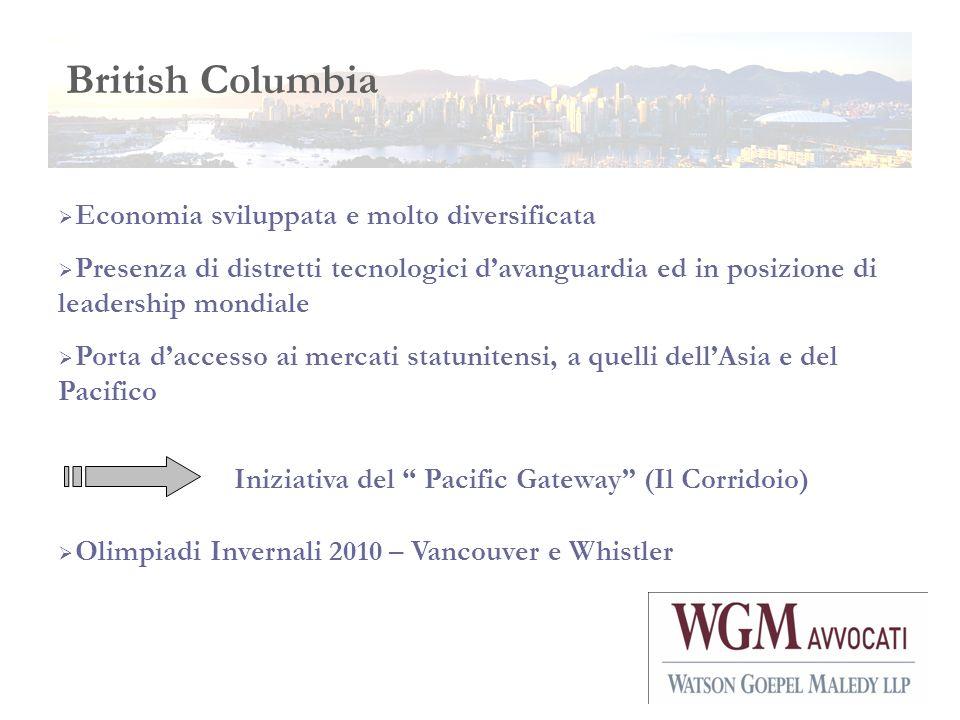 British Columbia Economia sviluppata e molto diversificata Presenza di distretti tecnologici davanguardia ed in posizione di leadership mondiale Porta