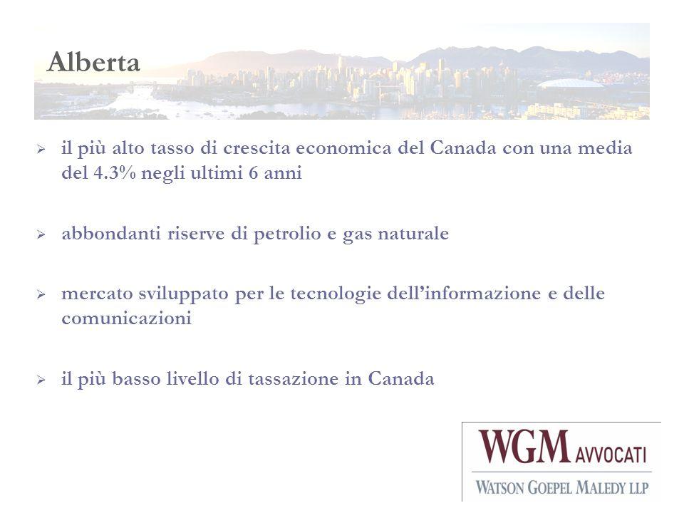 Alberta il più alto tasso di crescita economica del Canada con una media del 4.3% negli ultimi 6 anni abbondanti riserve di petrolio e gas naturale me
