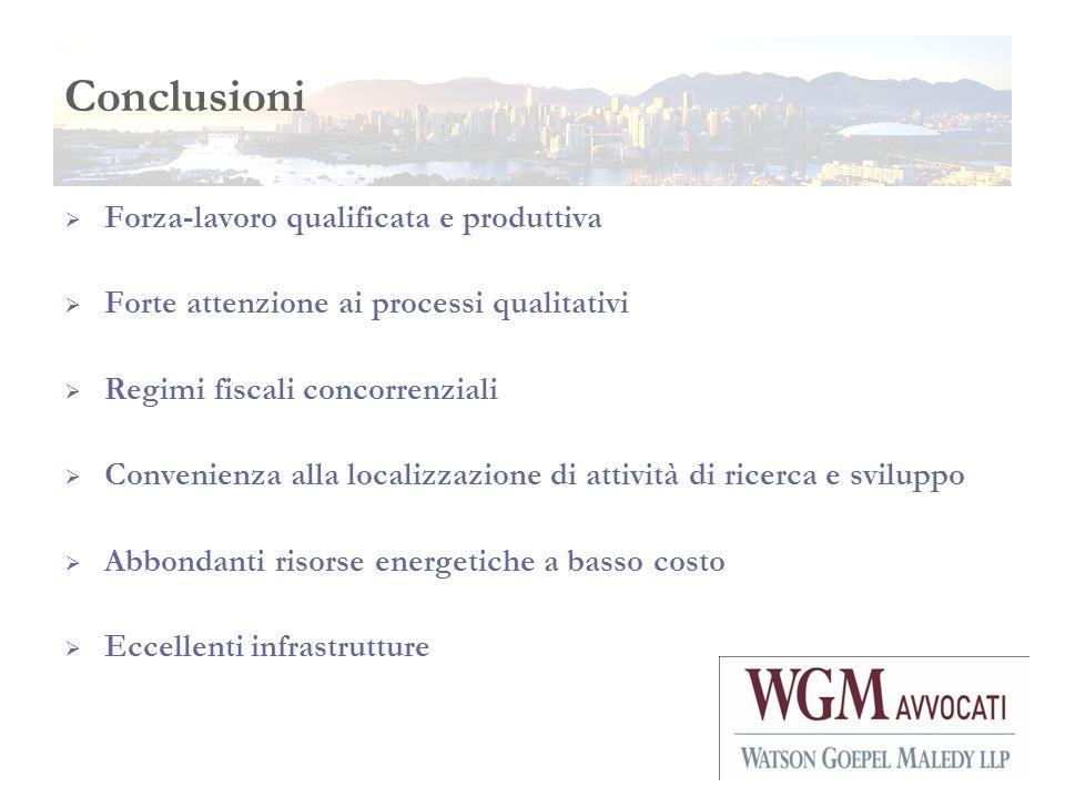 Conclusioni Forza-lavoro qualificata e produttiva Forte attenzione ai processi qualitativi Regimi fiscali concorrenziali Convenienza alla localizzazio