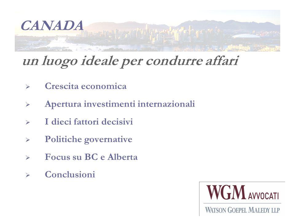 CANADA un luogo ideale per condurre affari Crescita economica Apertura investimenti internazionali I dieci fattori decisivi Politiche governative Focu