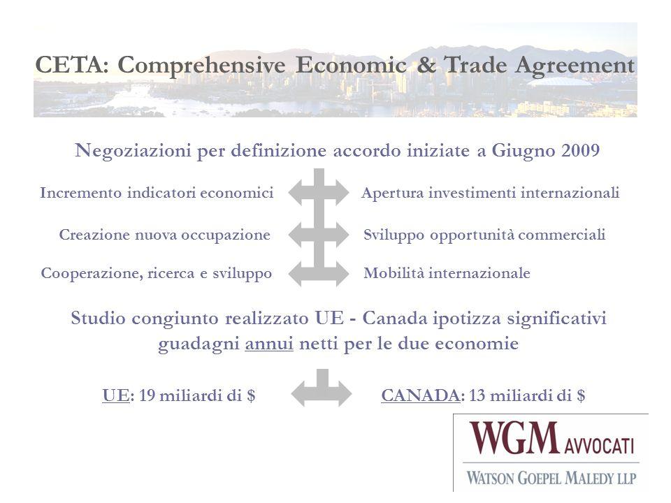 CETA: Comprehensive Economic & Trade Agreement Studio congiunto realizzato UE - Canada ipotizza significativi guadagni annui netti per le due economie