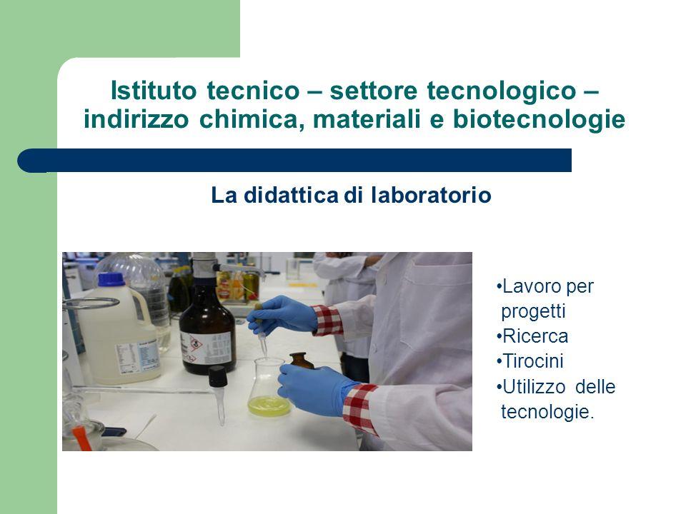 Istituto tecnico – settore tecnologico – indirizzo chimica, materiali e biotecnologie La didattica di laboratorio Lavoro per progetti Ricerca Tirocini