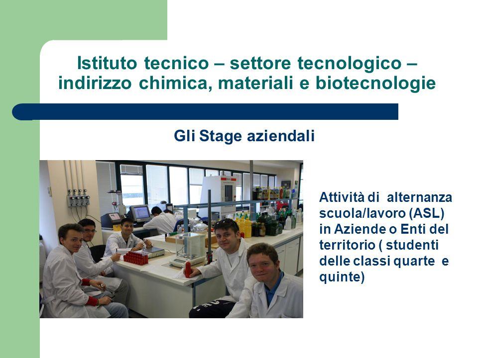 Istituto tecnico – settore tecnologico – indirizzo chimica, materiali e biotecnologie Gli Stage aziendali Attività di alternanza scuola/lavoro (ASL) i