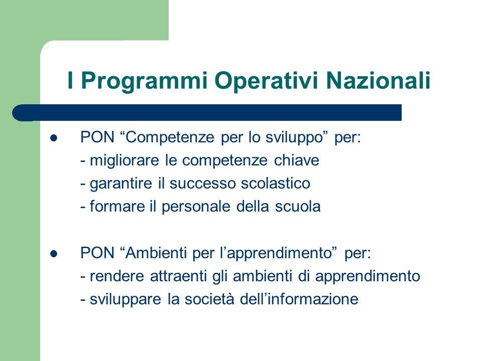 I Programmi Operativi Nazionali PON Competenze per lo sviluppo per: - migliorare le competenze chiave - garantire il successo scolastico - formare il