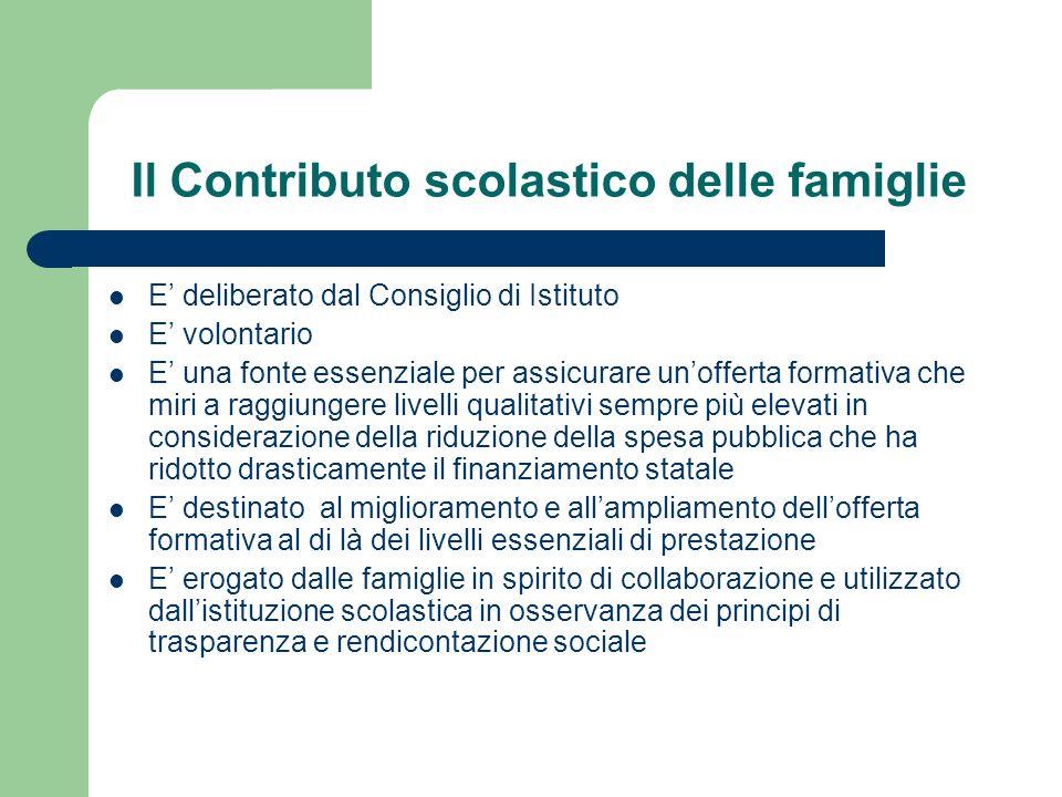 Il Contributo scolastico delle famiglie E deliberato dal Consiglio di Istituto E volontario E una fonte essenziale per assicurare unofferta formativa