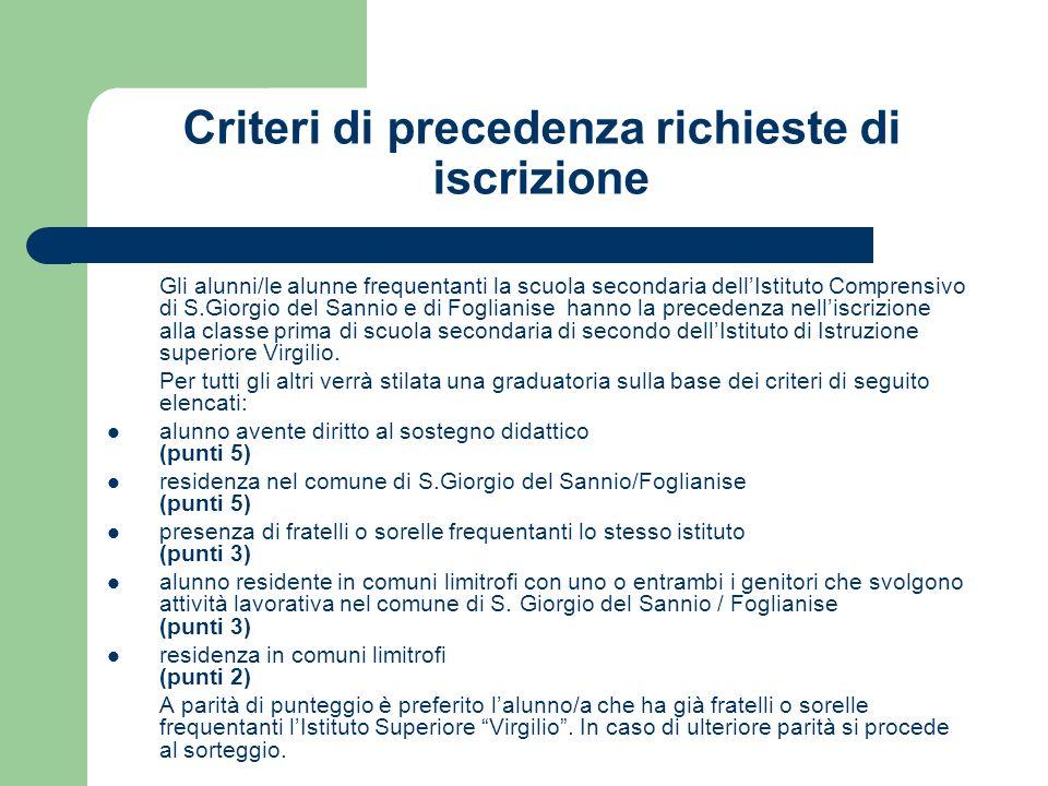 Criteri di precedenza richieste di iscrizione Gli alunni/le alunne frequentanti la scuola secondaria dellIstituto Comprensivo di S.Giorgio del Sannio