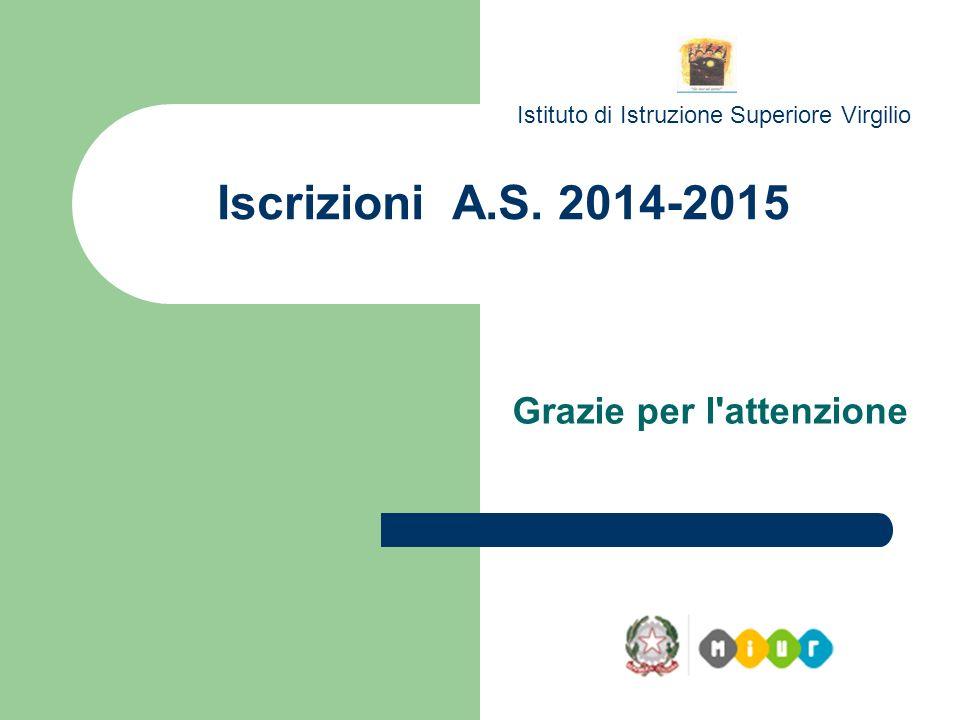 Iscrizioni A.S. 2014-2015 Istituto di Istruzione Superiore Virgilio Grazie per l'attenzione