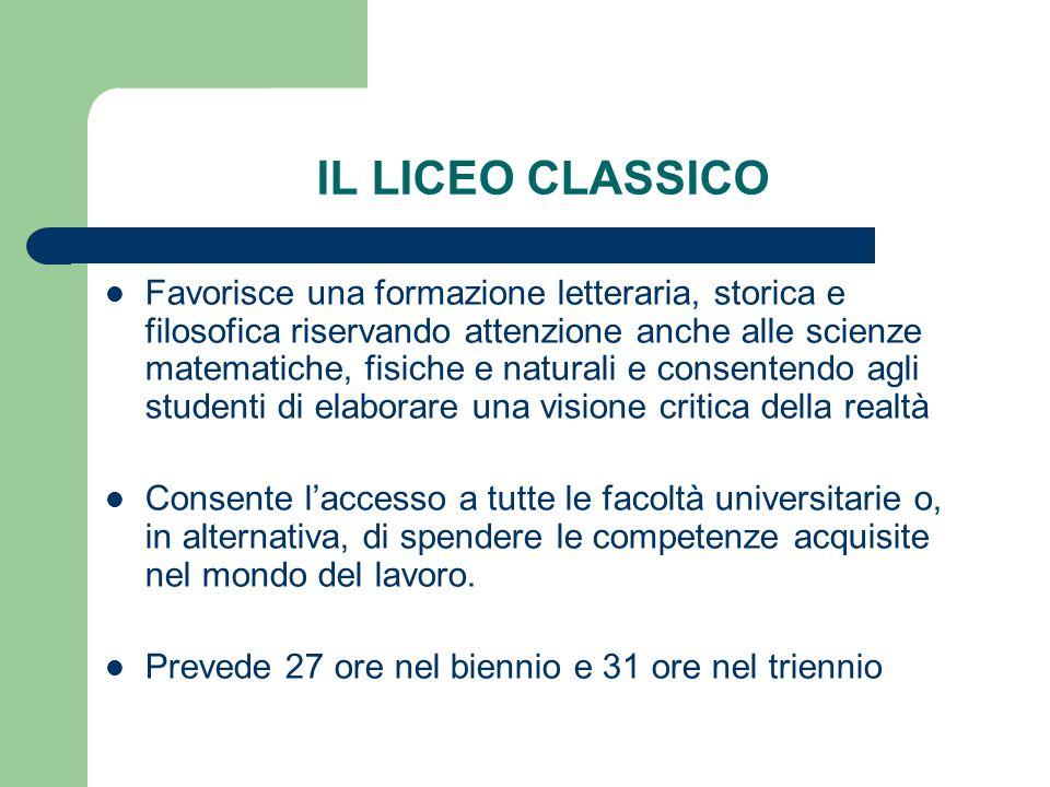 IL LICEO CLASSICO Favorisce una formazione letteraria, storica e filosofica riservando attenzione anche alle scienze matematiche, fisiche e naturali e