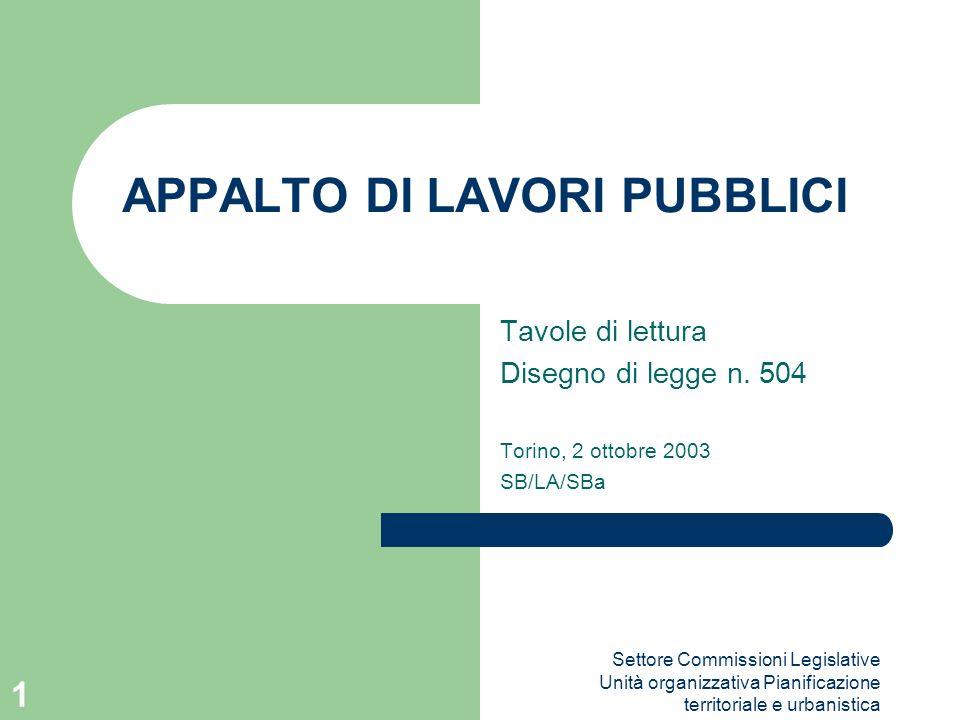 Settore Commissioni Legislative Unità organizzativa Pianificazione territoriale e urbanistica 1 APPALTO DI LAVORI PUBBLICI Tavole di lettura Disegno d