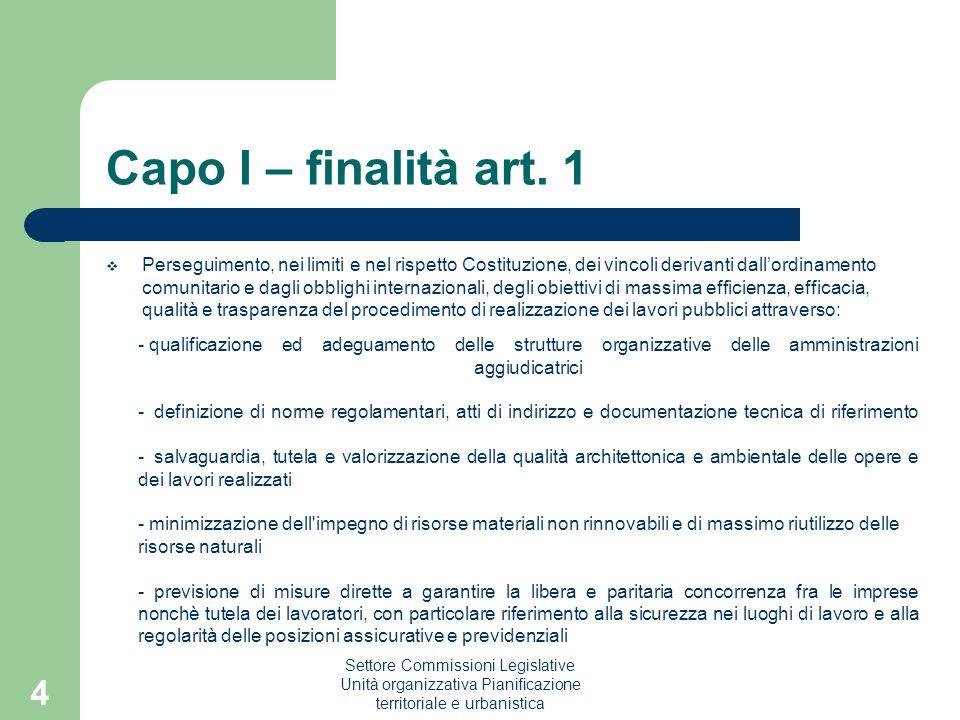 Settore Commissioni Legislative Unità organizzativa Pianificazione territoriale e urbanistica 4 Capo I – finalità art. 1 Perseguimento, nei limiti e n